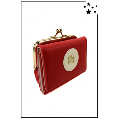 Porte-monnaie - Petit modèle - Clic-clac - Chat doré - Rouge