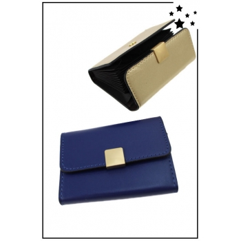 Porte cartes de visite - Boucle dorée - Bleu marine