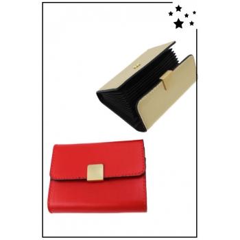 Porte cartes de visite - Boucle dorée - Rouge
