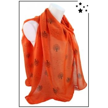 Foulard - Arbres avec touches de dorées - Orange