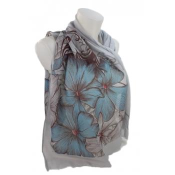 Foulard - Motifs grandes fleurs - Gris