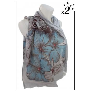 Foulard - Motifs grandes fleurs - Gris x2