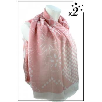 Foulard - Fleurs et pois blancs - Rose x2