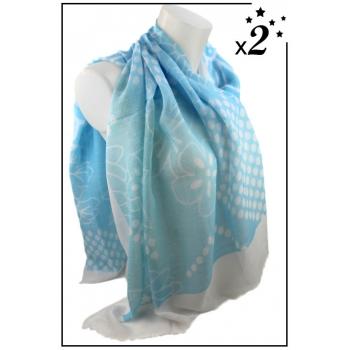 Foulard - Fleurs et pois blancs - Bleu ciel x2