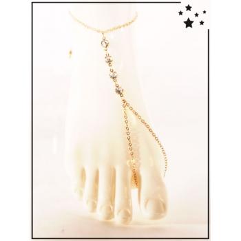 Bracelet de cheville - Strass - Doré