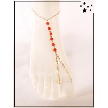 Bracelet de cheville - Perles rouges - Doré