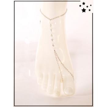 Bracelet de cheville - Perles blanches - Argenté