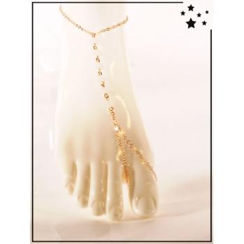 Bracelet de cheville - Perles blanches - Doré