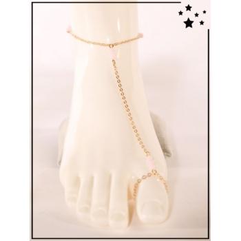 Bracelet de cheville - 3 perles roses - Doré