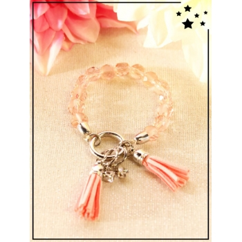 Bracelet - Pompons - Perles translucides - Rose