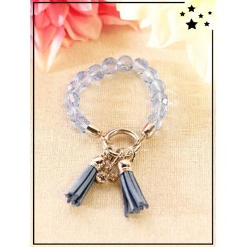 Bracelet - Pompons - Perles translucides - Lavande