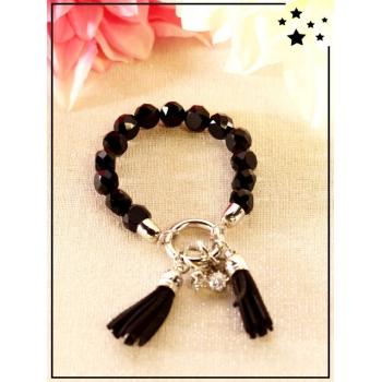 Bracelet - Pompons - Perles translucides - Noir