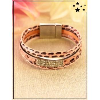 Bracelet - Imprimé léopard - Strass - Rose