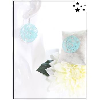 Boucles d'oreilles - Filigrane - Fleurs - Turquoise