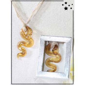 Collier - Verre - Serpent - Doré