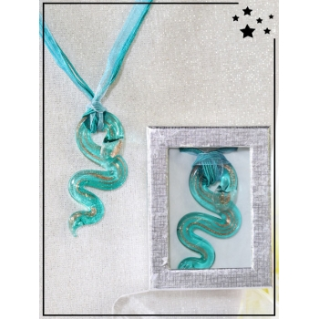Collier - Verre - Serpent - Turquoise