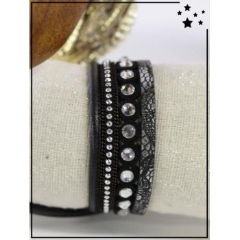 Bracelet manchette - Strass - Noir