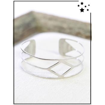 Bracelet - Réglable - Double rangs - Losange - Argent
