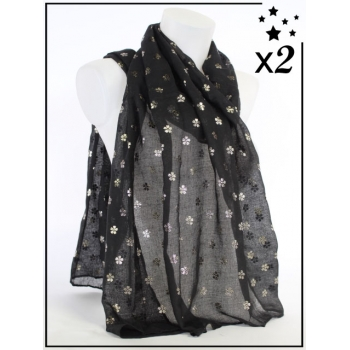 Foulard touches brillantes - Motif fleurs - Noir - x2