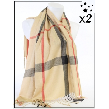 Foulard - Carreaux - Camel - x2