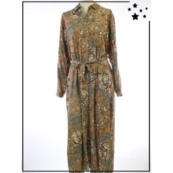Robe longue - TU - Imprimé floral vintage - Camel