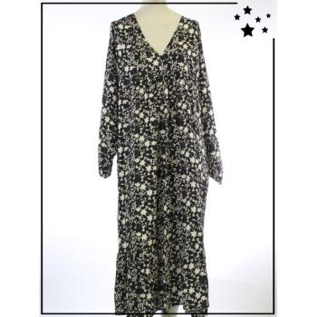 Robe longue - TU - Imprimé végétal - Noir