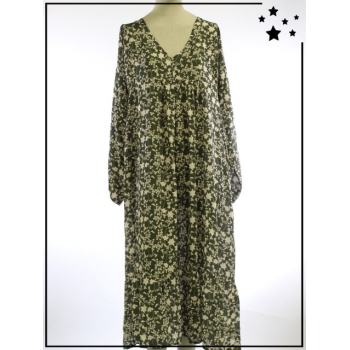 Robe longue - TU - Imprimé végétal - Kaki