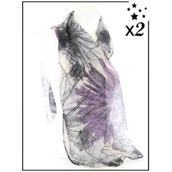 Foulard - Esquisse florale - Violet - x2