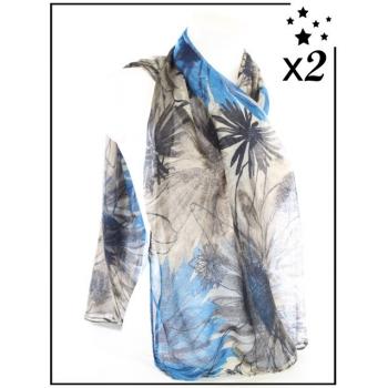 Foulard - Esquisse florale - Bleu - x2
