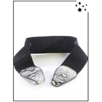 Ceinture élastique - Fermoir crochet - Python - Blanc/Noir