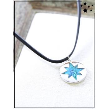 Collier - Médaille étoile - Nuancé - Bleu