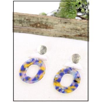 Boucle d'oreilles - Résine - Forme ovale - Nuancé - Bleu/Jaune