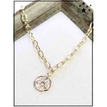 Collier - Médaille boussole - Maillons larges - Doré