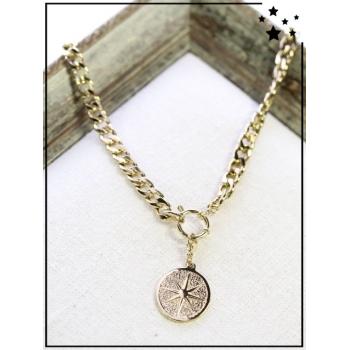 Collier - Médaille rose des vents - Maillons larges - Doré