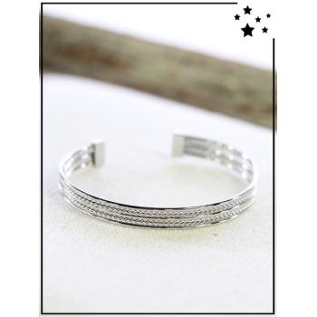 Bracelet jonc - Torsades discrètes - Argenté