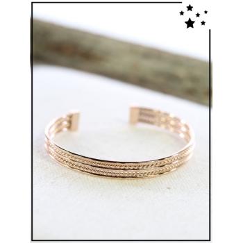 Bracelet jonc - Torsades discrètes - Cuivré