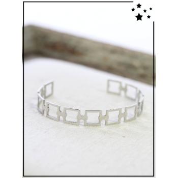 Bracelet jonc - Carrés joints - Argenté