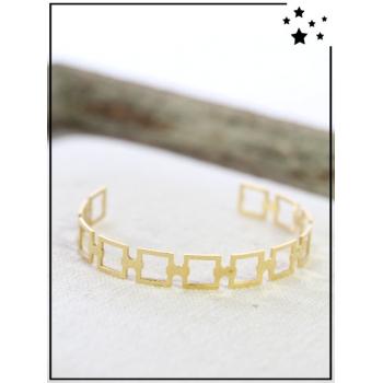 Bracelet jonc - Carrés joints - Doré