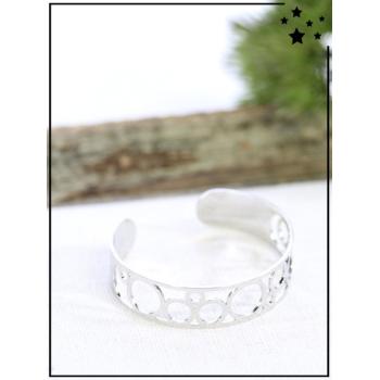 Bracelet jonc - Bulles - Argenté