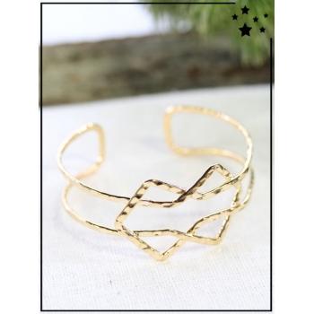 Bracelet jonc - Formes entrelacées - Doré
