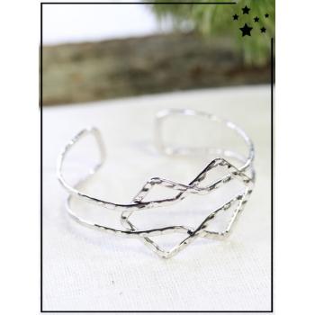 Bracelet jonc - Formes entrelacées - Argenté