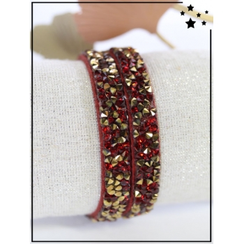 Bracelet double tour - Strass - Doré/Rouge - Rouge