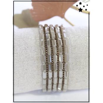 Bracelet - Multirangs - Perles - Ecru