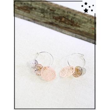 Boucle d'oreille - Cercles filigrane - Cuivré, doré, argenté