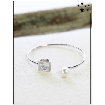 Bracelet jonc - Strass et perle - Argenté
