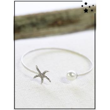 Bracelet jonc - Etoile de mer et perle - Argenté