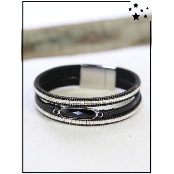 Bracelet - Pierre et strass - Noir