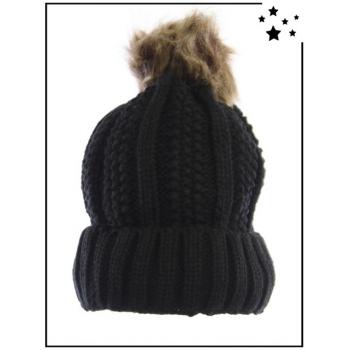 Bonnet - Doublé polaire - Pompon amovible - Point de riz et côtes - Noir - DM22612