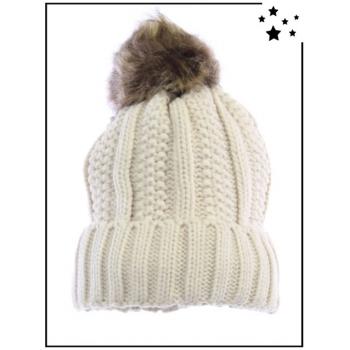 Bonnet - Doublé polaire - Pompon amovible - Point de riz et côtes - Beige - DM22612
