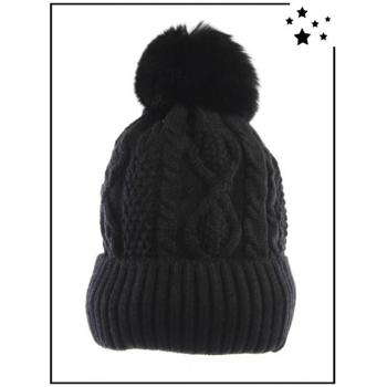 Bonnet pompon - Doublé polaire - Torsades - Noir - DM2417
